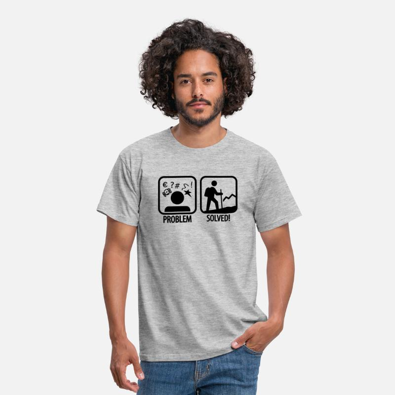 Problem T-Shirts - hiking: problem solved - Men's T-Shirt heather grey