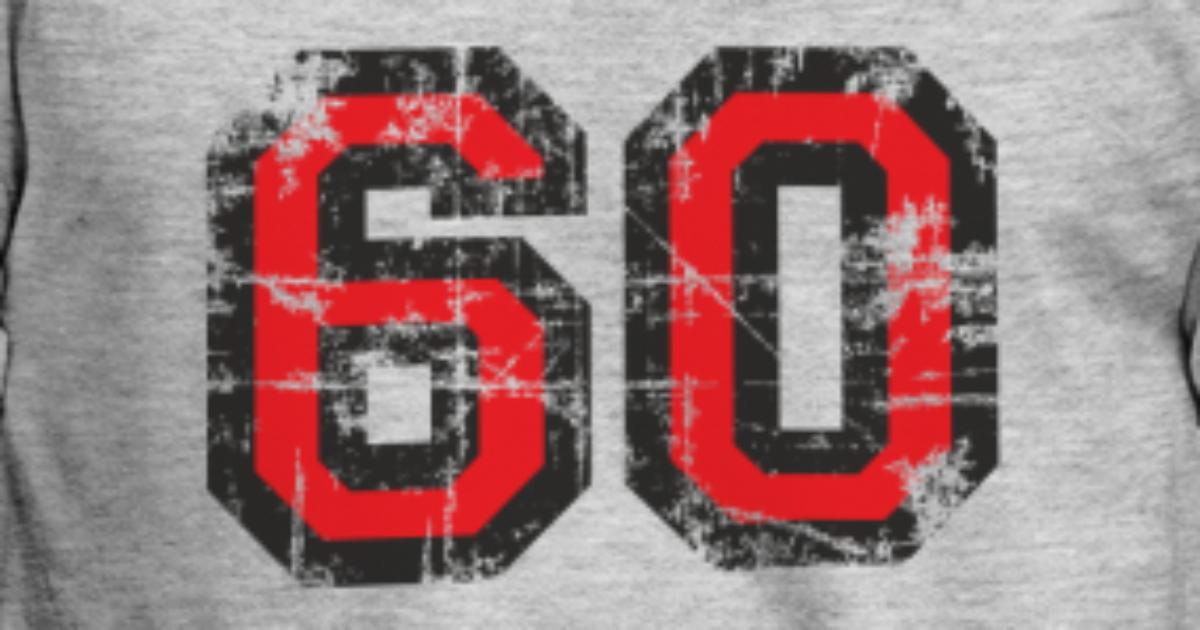 Mens T ShirtNumber 60 Sixty 60th Birthday Design EU