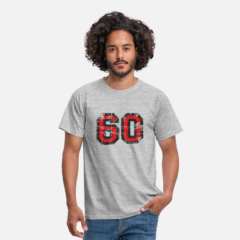 Male T-Shirts - Number 60 Sixty 60th Birthday Design (EU) - Men's T-Shirt heather grey
