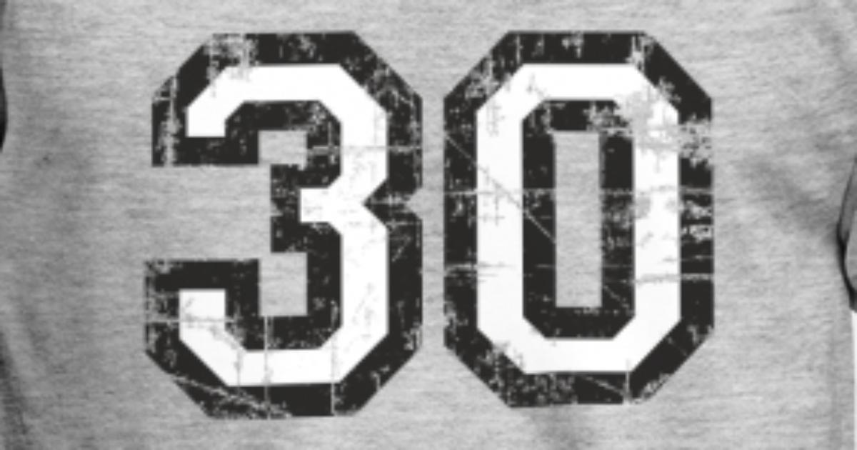 Mens T ShirtNumber 30 Thirty 30th Birthday Design EU