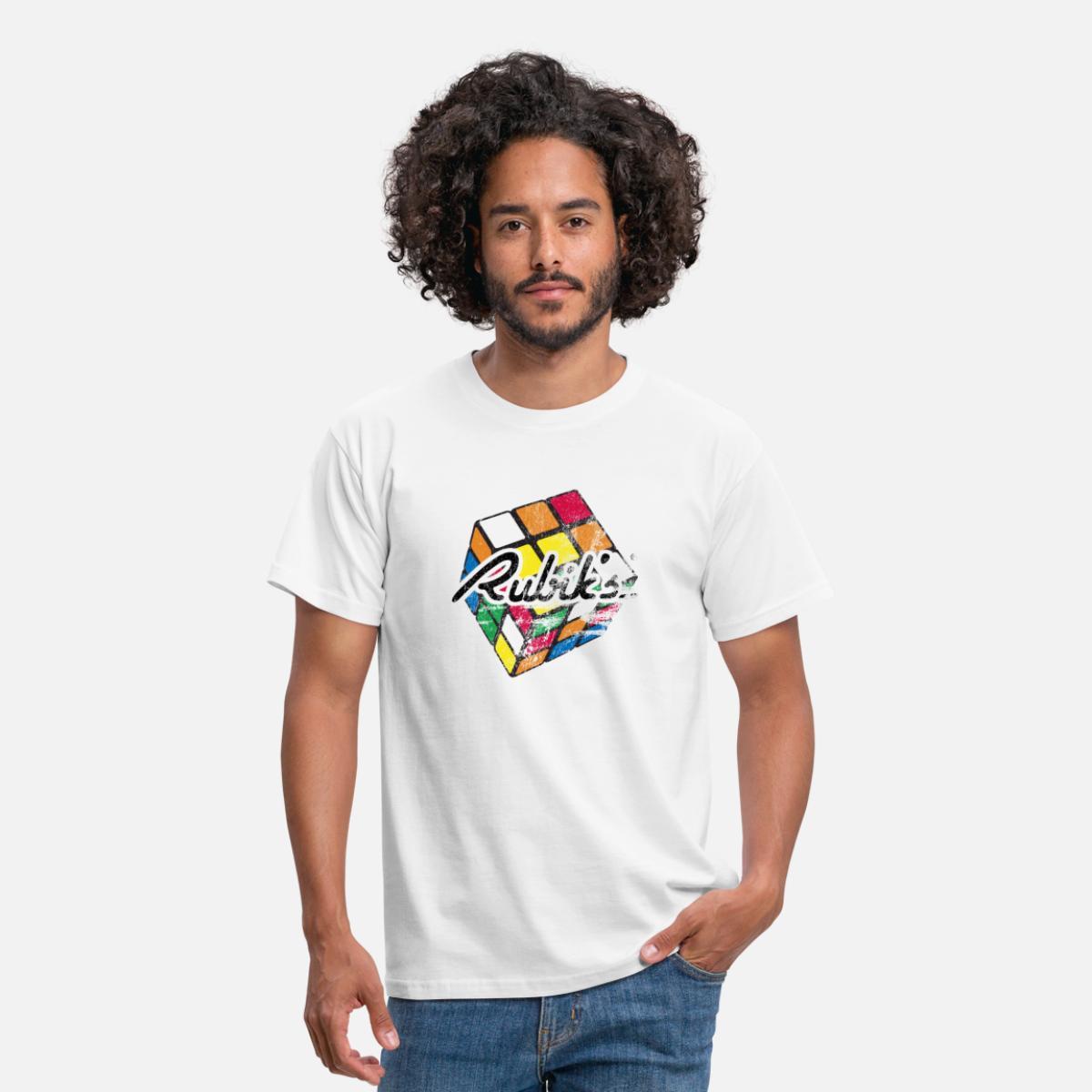 9a299ad0f53b Rubik's Cube Distressed Men's T-Shirt - white
