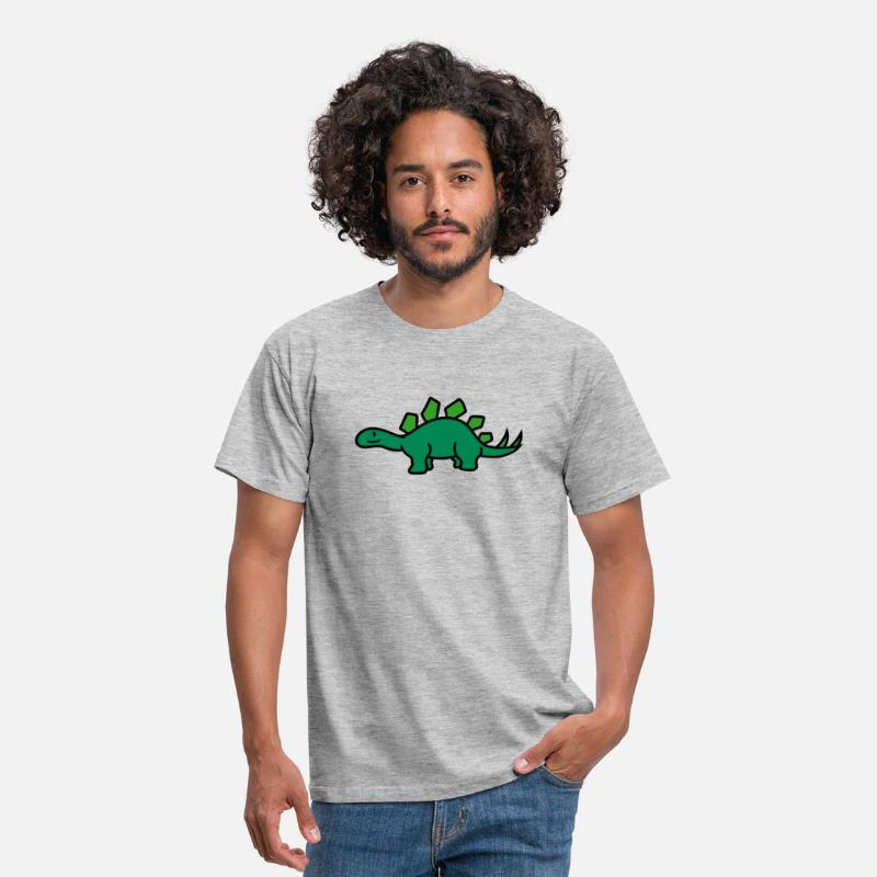 Dinosaurs T-Shirts - Stegosaurus Cute Cute Little Kids Big Cartoon Dino - Men's T-Shirt heather grey