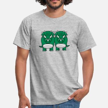 Dinosaur Couples 2 friends team couple couple cool horns triceratop - Men's T-Shirt