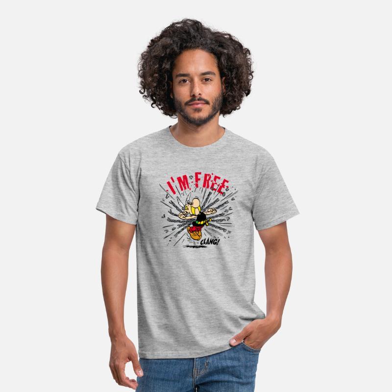 Asterix & Obelix Asterix 'I'm Free' Tee shirt Ho T shirt Homme gris chiné