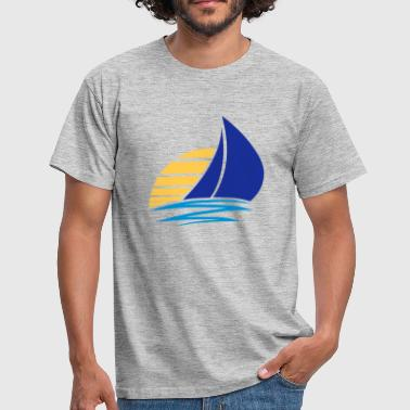 sun sailing logo design sailing boat ship club sea - Men's T-Shirt