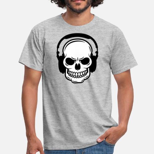 5fd7b5d5625813 Totenkopf Kopfhörer - Männer T-Shirt. Vorne