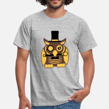 Owl sir mr gentleman cylinder hat monocle glasses rich - Men's T-Shirt