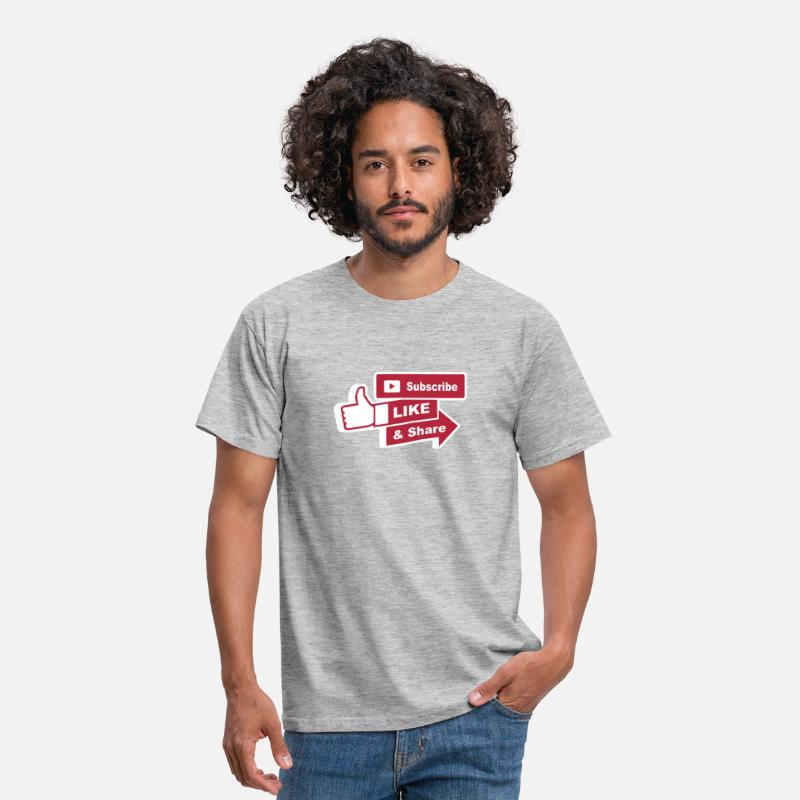 Blogger T-Shirts - Subscribe, like and share - Men's T-Shirt heather grey