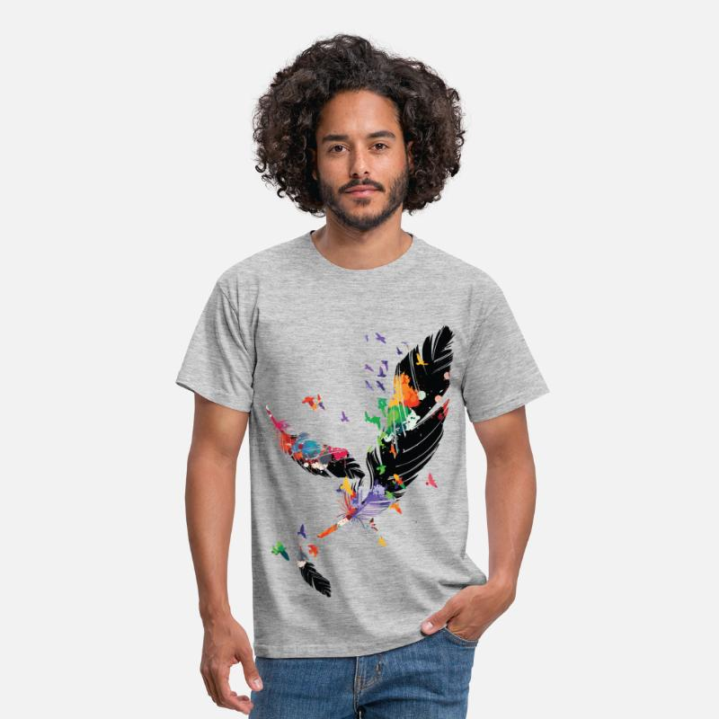 Cool T-Shirts - FEATHERS - Men's T-Shirt heather grey