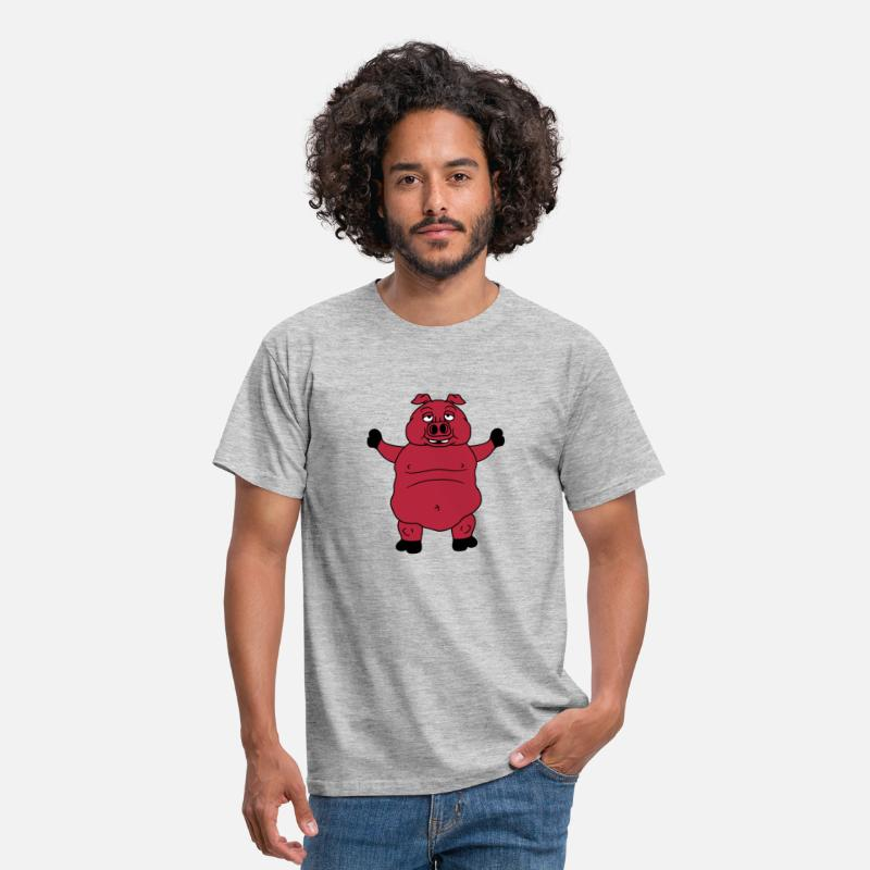 Boar T-Shirts - big dick fat pig boar piglet comic cartoon laughin - Men's T-Shirt heather grey