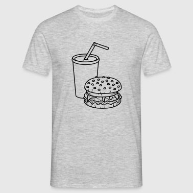 cheeseburger hamburger frites dryck citronad cola  - T-shirt herr