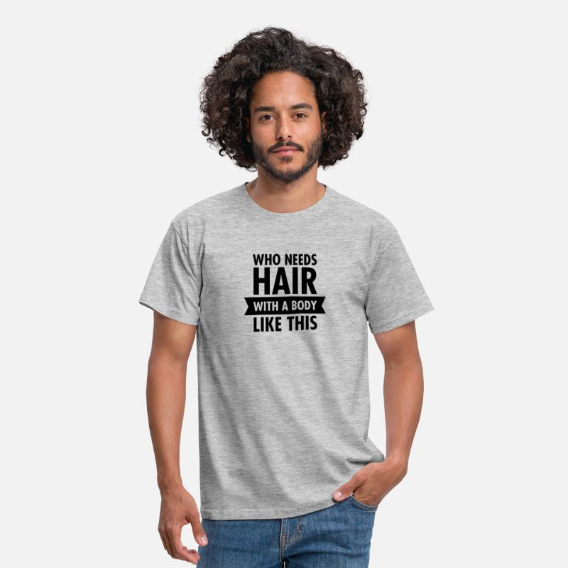 Gym T-Shirts - Who Needs Hair With A Beard Like This - Men's T-Shirt heather grey