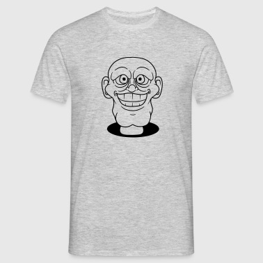 face head hole ground bald grin crazy crazy funny  - Men's T-Shirt