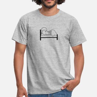 Dorm bed sleeping night tired dorm dreaming exhausted s - Men's T-Shirt