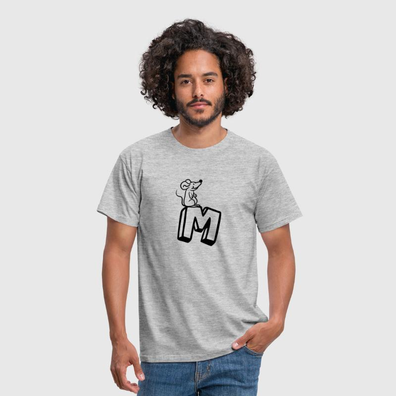 Mouse Rat Little Mouse Cute Cute Letter M Initial  - Men's T-Shirt