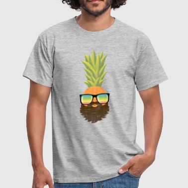 Ananas Pineapple Hipster With Beard And Sunglasses - T-shirt Homme