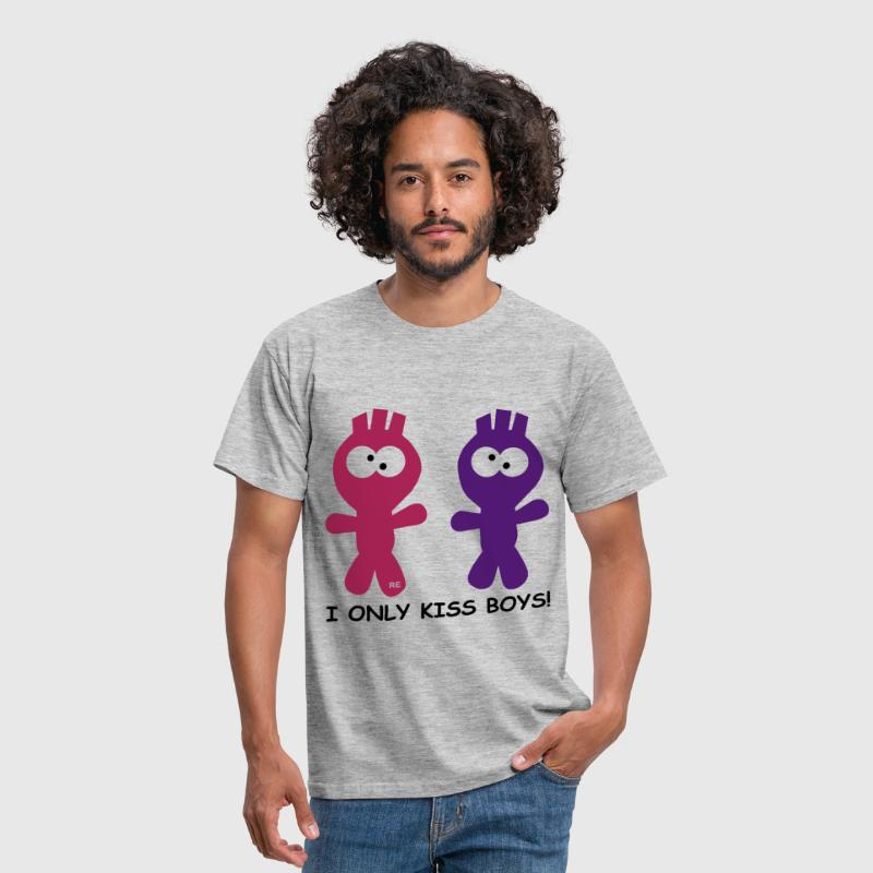 I only kiss boys Homo fun - Mannen T-shirt