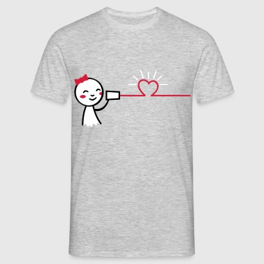 love tin can telephone couple shirt - girl - Männer T-Shirt