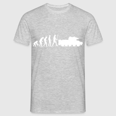 The evolution of humanity ends in the war tank - Men's T-Shirt