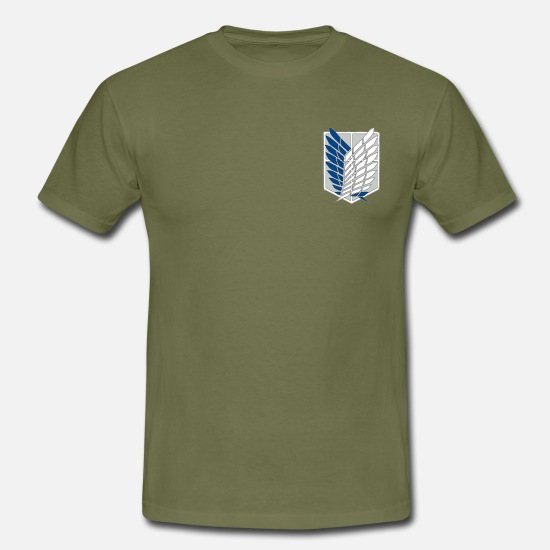 Attack T-Shirts - Attack on titan Wings of freedom - Men's T-Shirt khaki green