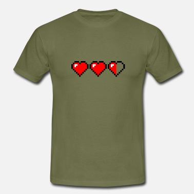 Pixel two´n half hearts - Männer T-Shirt