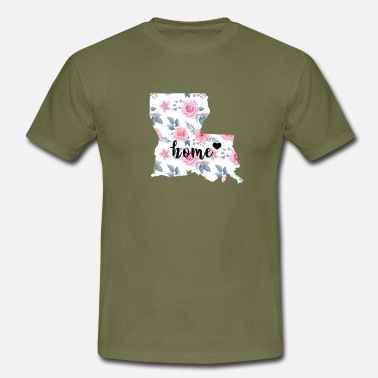 United I Love Louisiana My Home Floral - Mannen T-shirt