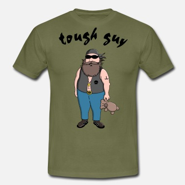Tough Guy tough guy with teddy bear - Men's T-Shirt