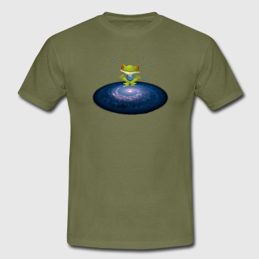 Frog meditates in the universe with stars - Men's T-Shirt