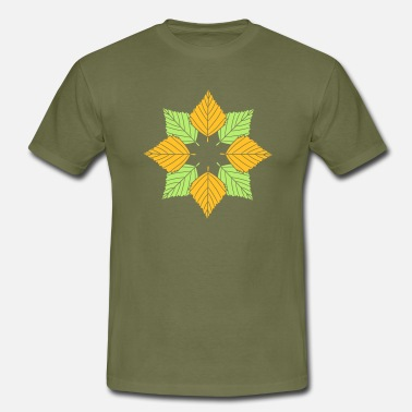 Flower many leaves colorful autumn silhouette star shape muste - Men's T-Shirt