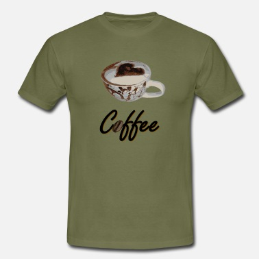 Latte Coffee with cup - Men's T-Shirt