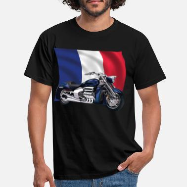 Bainderas motorcycle with france flag - Men's T-Shirt