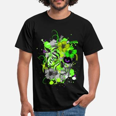 Trance Tiger Skull Neon Colors Psy Goa Trance Techno - Men's T-Shirt