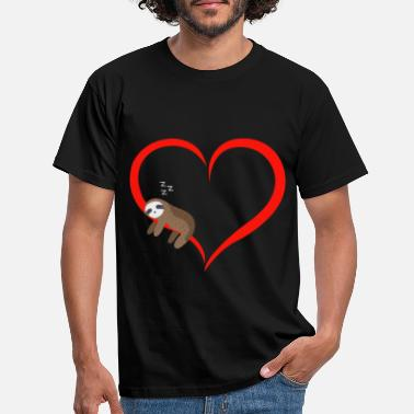 Sloth Sleeps Red Heart Valentine's Day Gift - Men's T-Shirt