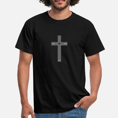 Christliches Grau Kreuz grau (faith - hope - love) - Männer T-Shirt