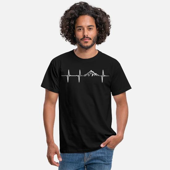 Berg T-Shirts - Heartbeat Mountains - Männer T-Shirt Schwarz