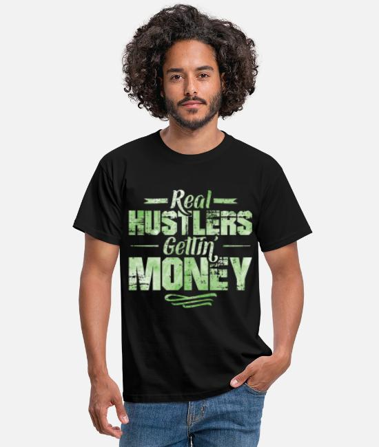 Rap T-Shirts - Hustle hip hop rap saying money - Men's T-Shirt black