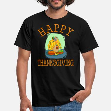 Feathered Happy Thanksgiving - Men's T-Shirt
