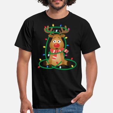 Rudolph with Christmas Lights Men/'s T-Shirt