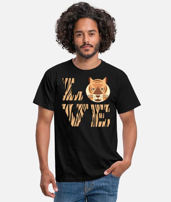 Prince T-Shirts - Orange Tiger L O V E Love Design Text - Men's T-Shirt black