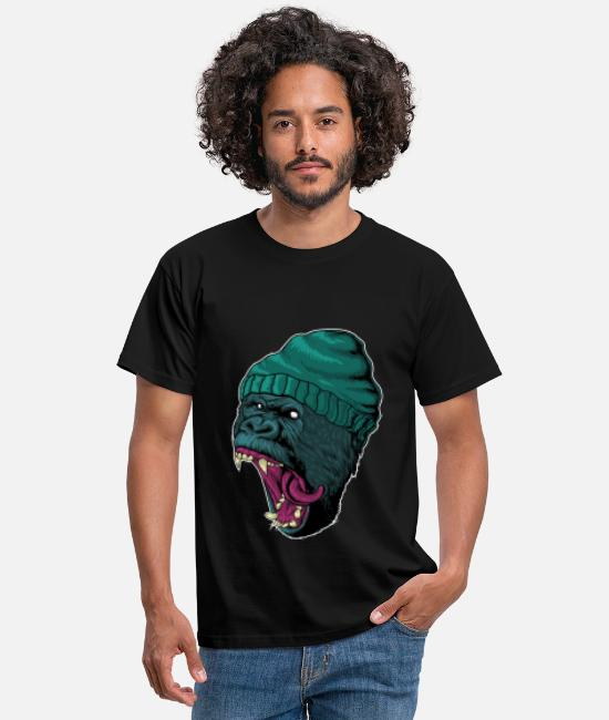 Easter T-Shirts - Stylish gorilla gangster with cap - Men's T-Shirt black