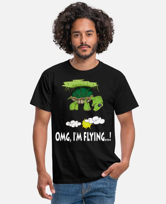 Jul T-shirts - Flying Turtle OMG I'm Flying Lover - T-shirt mænd sort