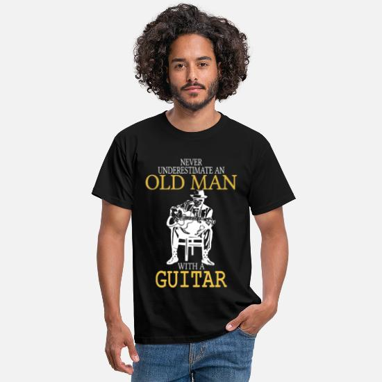 Guitar T-Shirts - Never Underestimate An Old Man With A Guitar .png - Men's T-Shirt black