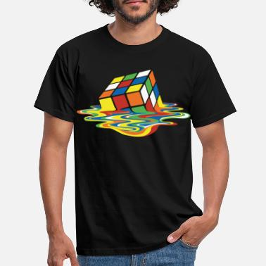 Maand Rubik's Cube Melted Colourful Puddle - Mannen T-shirt