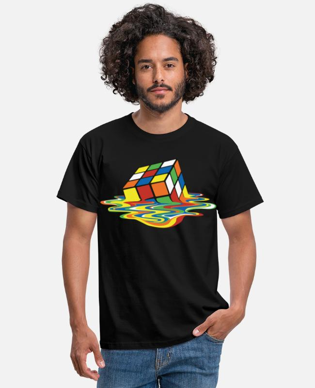Månadens Mönster T-shirts - Rubik's Cube Melted Colourful Puddle - T-shirt herr svart