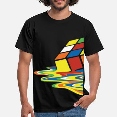 Geek Rubik's Cube Melted Colourful Puddle - Mannen T-shirt