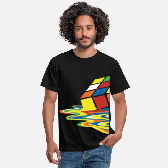 Nörd T-shirts - Rubik's Cube Melted Colourful Puddle - T-shirt herr svart
