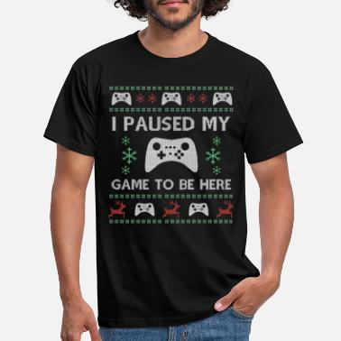 Gamer pauzeerde mijn spel Ugly Christmas Sweater - Mannen T-shirt