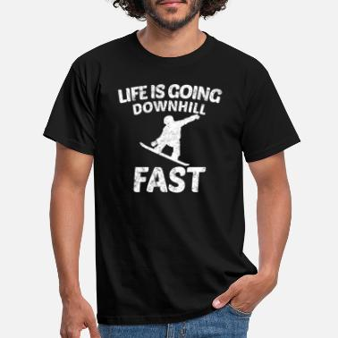 Fast Funny Vintage Distressed Snowboarding - Men's T-Shirt