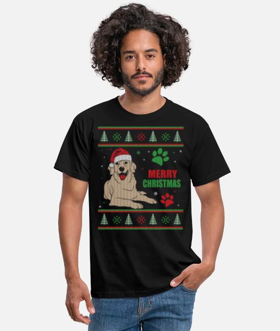 Hund T-shirts - Ugly Christmas Style Golden Retriever - T-shirt mænd sort