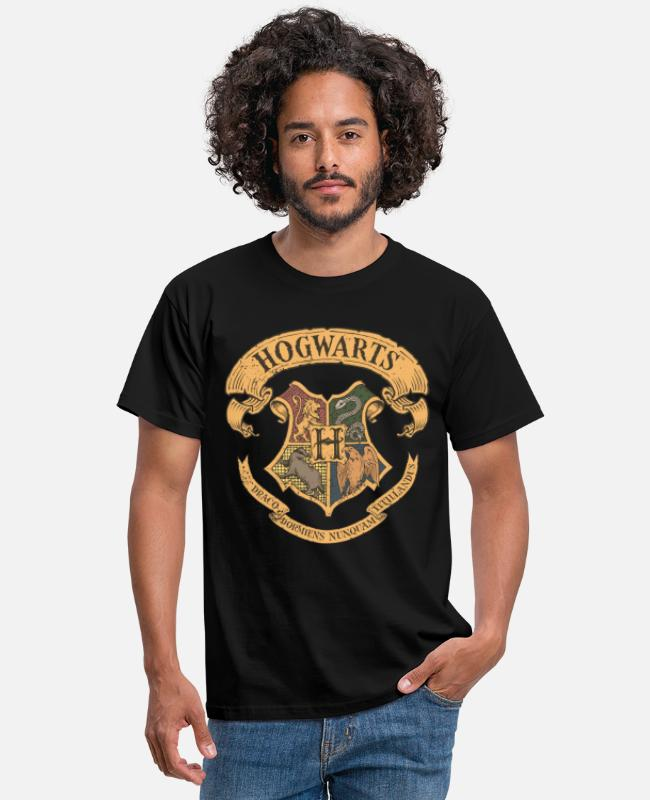 Official License T-shirts - Harry Potter Hogwarts Coat of Arms - T-shirt mænd sort
